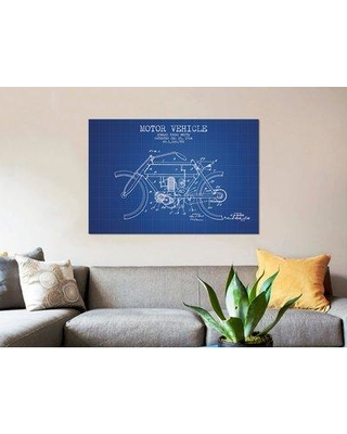 """East Urban Home 'Edward Y. Motor Vehicle Patent Sketch' Graphic Art Print on Canvas in Blue Grid ERBR0048 Size: 12"""" H x 18"""" W x 0.75"""" D"""