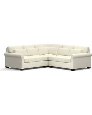 York Roll Arm Upholstered Deep Seat 3-Piece L-Shaped Corner Sectional, Down Blend Wrapped Cushions, Premium Performance Basketweave Ivory