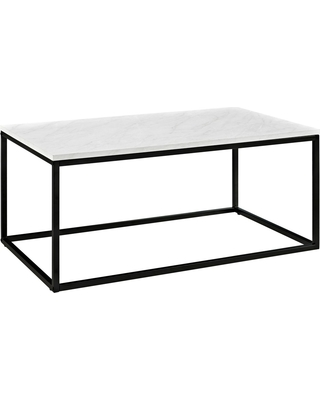 Urban Open Box Frame Coffee Table with Faux Marble and Metal White - Saracina Home