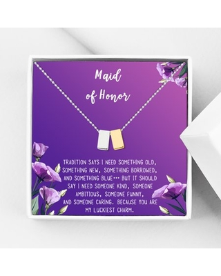 Anavia Maid of Honor Necklace Gift, Maid of Honor Sister Gift, Maid Of Honor Card for Girls, Wedding Gifts Jewelry Necklace-[Silver and Gold Double Cube, Royal Purple Gift Card]
