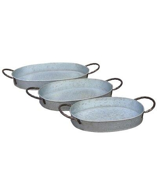 """Gracie Oaks Robillard Round Metal Nesting 3 Piece Serving Tray Set, Metal in Gray, Size Extra Large (Over 17"""" W) 