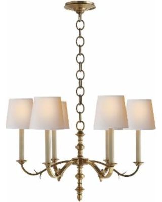 Visual Comfort and Co. Thomas O'Brien Channing 28 Inch 6 Light Chandelier - TOB 5119HAB-NP