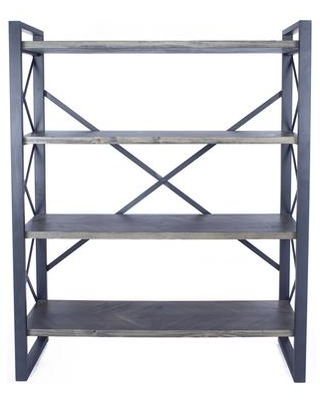 """328696 39.75"""" Metal Wood and MDF Bookcase with 4 Shelves in"""