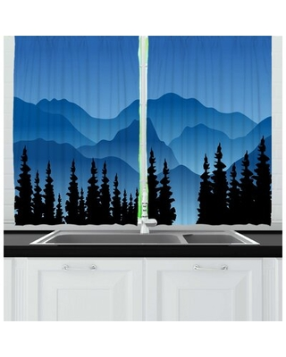 2 Piece Landscape Silhouette Style Illustration of Pine Trees and Hills Horizon Kitchen Curtain Set East Urban Home