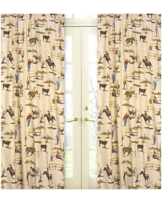 Wild West Cowboy Graphic Print & Text Semi-Sheer Rod Pocket Curtain Sweet Jojo Designs