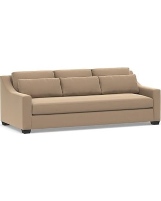 """York Slope Arm Upholstered Deep Seat Grand Sofa 95"""" with Bench Cushion, Down Blend Wrapped Cushions, Performance Plush Velvet Camel"""