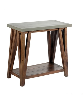"""30"""" Brookside Console Media Table Concrete Coated Top and Wood Light Gray/Brown - Alaterre Furniture"""