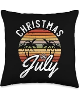 Christmas In July Cloths Summer Vacation Gifts Christmas In July Retro Tropical Beach Summer Hawaii Surfer Throw Pillow, 16x16, Multicolor
