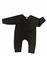 Earth Baby Outfitters Baby Boys and Girls Organic Cotton Raw Edge Romper - Black