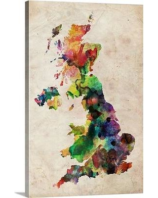 """Great Big Canvas 'United Kingdom Watercolor Map' by Michael Tompsett Graphic Art Print 1019673_ Size: 60"""" H x 40"""" W x 1.5"""" D Format: Canvas"""
