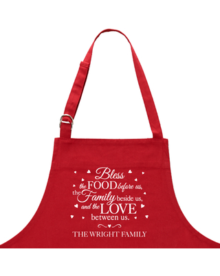 Personalized Bless This Food Apron - Red