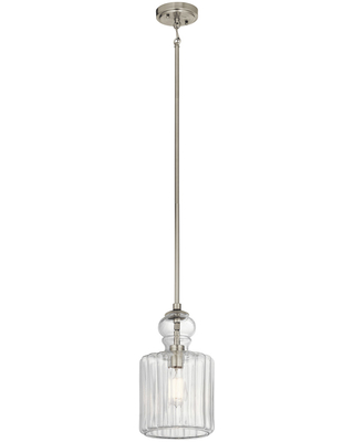 Kichler Riviera 7.75 inch Clear Ribbed Glass Pendant in Brushed Nickel