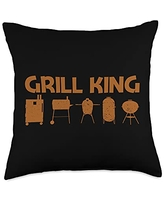 Best Grill Barbecue Cooking Griller Chef Clothes Funny Gift for Men Dad Grilling BBQ Smoked Meat Fan Throw Pillow, 18x18, Multicolor