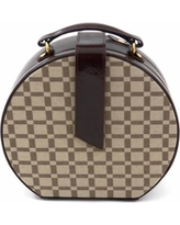 Bey-Berk Brown Leather Checkered Jewelry Box and Valet Tray Set