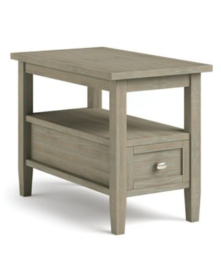 Simpli Home Warm Shaker Solid Wood Narrow Side Table in Distressed Grey