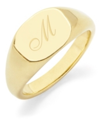 brook & york Reagan Initial Signet Gold-Plated Ring