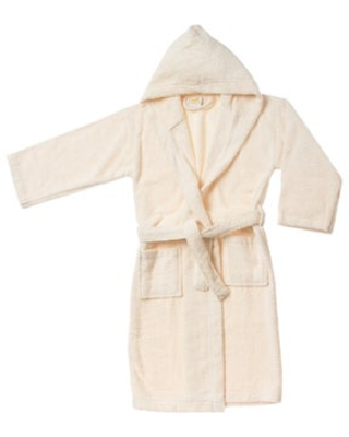 Superior Collection Luxurious Cotton Kids Hooded Bath Robe (M - Ivory)
