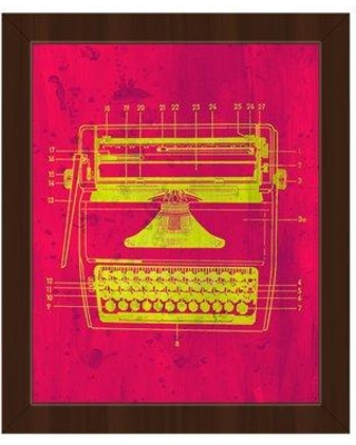 """Click Wall Art 'Typewriter Schematic' Framed Graphic Art Print on Canvas in Yellow/Pink COM0000175FRA08x10SBK Size: 12.5"""" H x 10.5"""" W Format: Espresso Framed"""