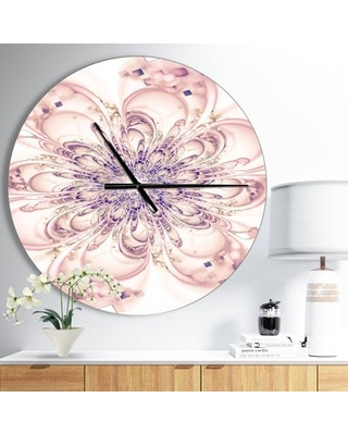 Oversized Bloom Fractal Flower in Floral Wall Clock East Urban Home Size: Medium