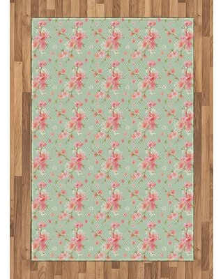 """Floral Pink/Gray Area Rug East Urban Home Rug Size: Rectangle 4' x 5'8"""""""