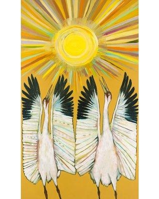 """East Urban Home 'Whooping Crane Sun Dancers' Acrylic Painting Print on Wrapped Canvas URBR6145 Size: 20"""" H x 12"""" W"""