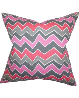 """The Pillow Collection Achsah Zigzag Cotton Throw Pillow Color: Pink Gray Size: 24"""" x 24"""""""