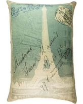 TheWatsonShop Eiffel Tower Cotton Lumbar Pillow LUM_DFVBLUEPARISSTRI