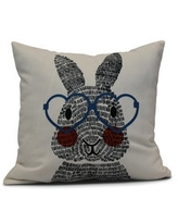 E by Design 20-inch What's Up Bunny Holiday Animal Print Pillow (Blue)