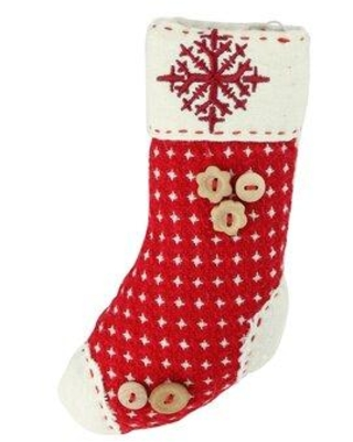 The Holiday Aisle Plush Holiday Stocking with Snowflake Embroidered Burlap Cuff Decorative Christmas Shaped Ornament THDA7344