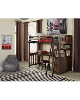 Highlands Loft Bed w/Hanging Nightstand & Desk (Does NOT Include Chair) (Twin)