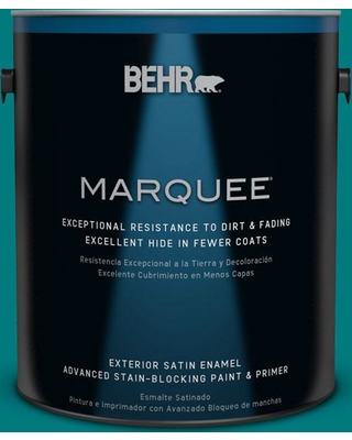 BEHR MARQUEE 1 gal. #S-G-500 Tropical Waters Satin Enamel Exterior Paint and Primer in One