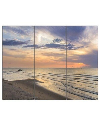 "Design Art 'Calm Sunset in Thailand Beach' 3 Piece Photographic Print on Wrapped Canvas Set, Canvas & Fabric in Brown/Purple, Size Medium 25""-32"""