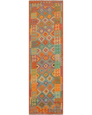 """One-of-a-Kind Ceporah Hand-Knotted 1990s 2'9"""" x 9'9"""" Runner WoolArea Rug inBlue/Rust"""