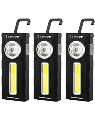 Lumore Three Pack 2 in 1 Work Light with Magnet, Clip, and Hook   High-Power LED Emergency Beacon  Premium Work Flashlight, Black, One