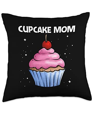 Best Cupcake Food Pastries Bakery Owner Clothes Cute Gift for Mom Mother Baker Baking Cupcake Lovers Throw Pillow, 18x18, Multicolor