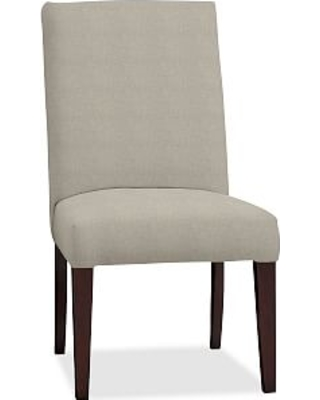 PB Comfort Square Upholstered Dining Side Chair, Performance Heathered Tweed Pebble