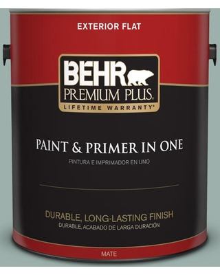 BEHR Premium Plus 1 gal. #490F-4 Gray Morning Flat Exterior Paint and Primer in One