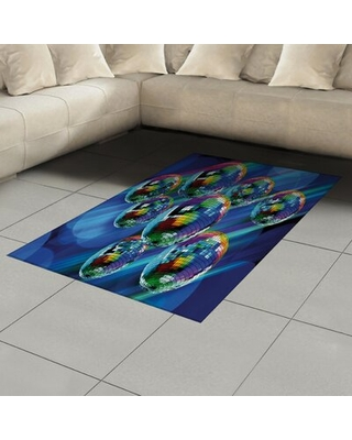 """70s Party Blue Area Rug East Urban Home Rug Size: Rectangle 4' x 5'8"""""""