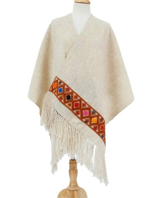 Handwoven Wool Shawl in Sand from Mexico
