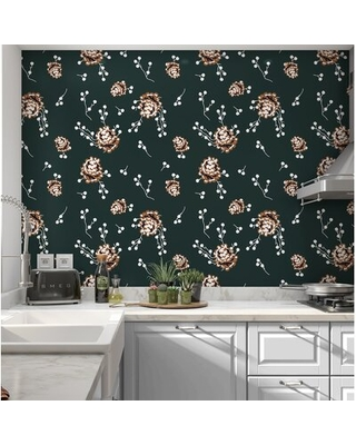 """Alfordsville Pinecone 16' L x 24 """" W Smooth Peel and Stick Wallpaper Roll"""