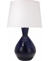Jamie Young Ash Navy Bottle Ribbed Ceramic Table Lamp