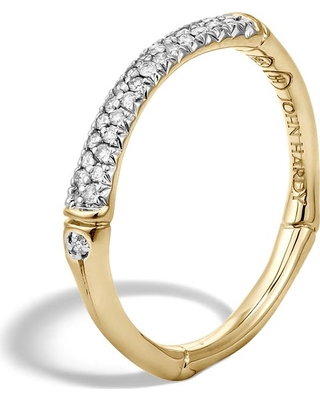 John Hardy Women's Bamboo 2.5MM Band Ring in 18K Gold with Diamonds