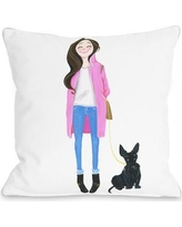 "One Bella Casa Love from NYC 4 Girl Dog Throw Pillow 73216PL18 Size: 16"" x 16"""