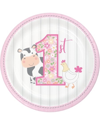 Farmhouse 1st Birthday Girl Round Paper Dessert Plates 24 Count for 24 Guests