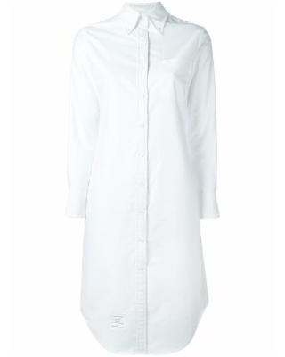 Oversized Cotton Shirtdress - White - Thom Browne Dresses