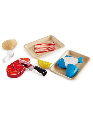Hape Tasty Proteins Set | Wooden Pretend Play Food Set for Kids, Basic Play Velcro Cooking Ingredients and Accessories Set, Multicolor