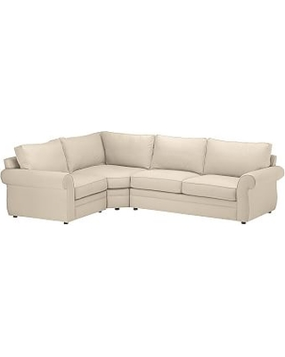 Pearce Roll Arm Upholstered Right 3-Piece Corner Wedge Sectional, Down Blend Wrapped Cushions, Twill Parchment