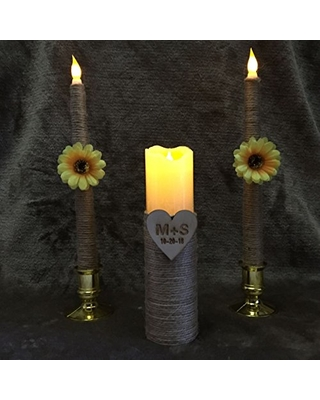 Sendinglovehandmade Wedding Unity Candles Set Led Flameless Candles With Flowers Personalized Battery Candles Wedding Candles Set Rustic Unity