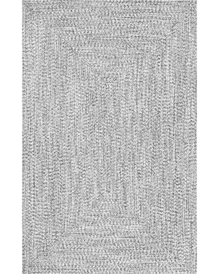 Black Solid Braided Area Rug 6'X9' - nuLOOM, Size: 6' x 9', Salt and Pepper