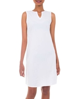 Handcrafted Solid White Cotton Sleeveless Shift Dress